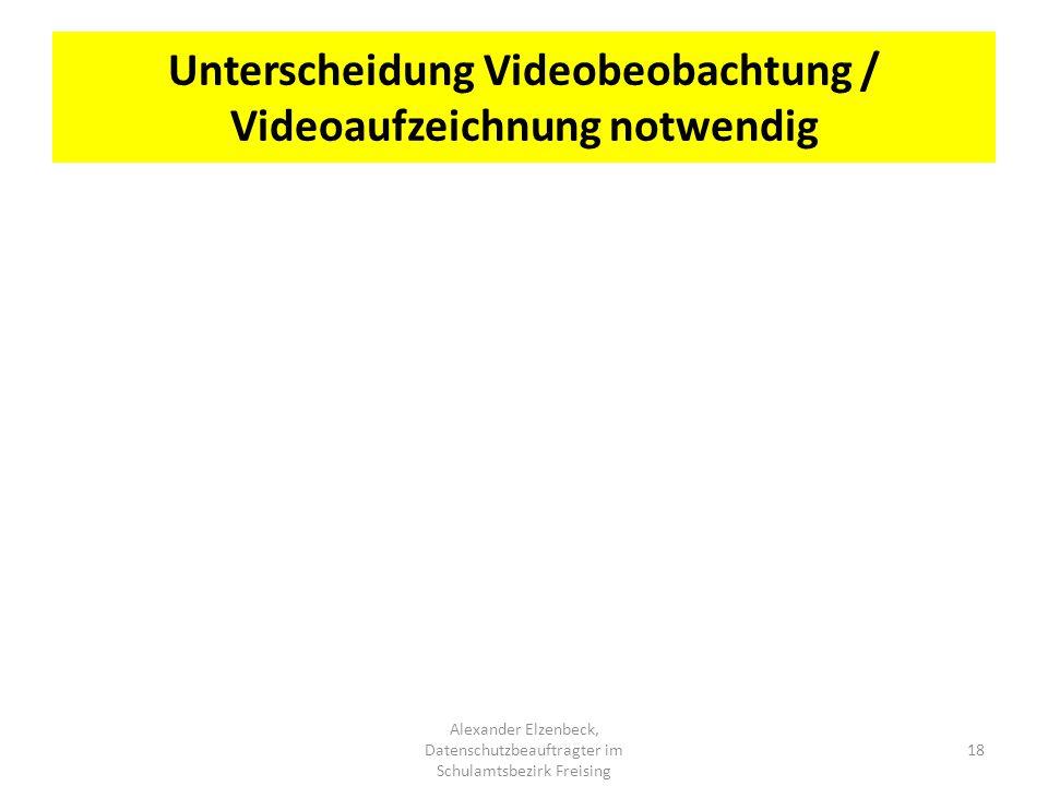 Unterscheidung Videobeobachtung / Videoaufzeichnung notwendig