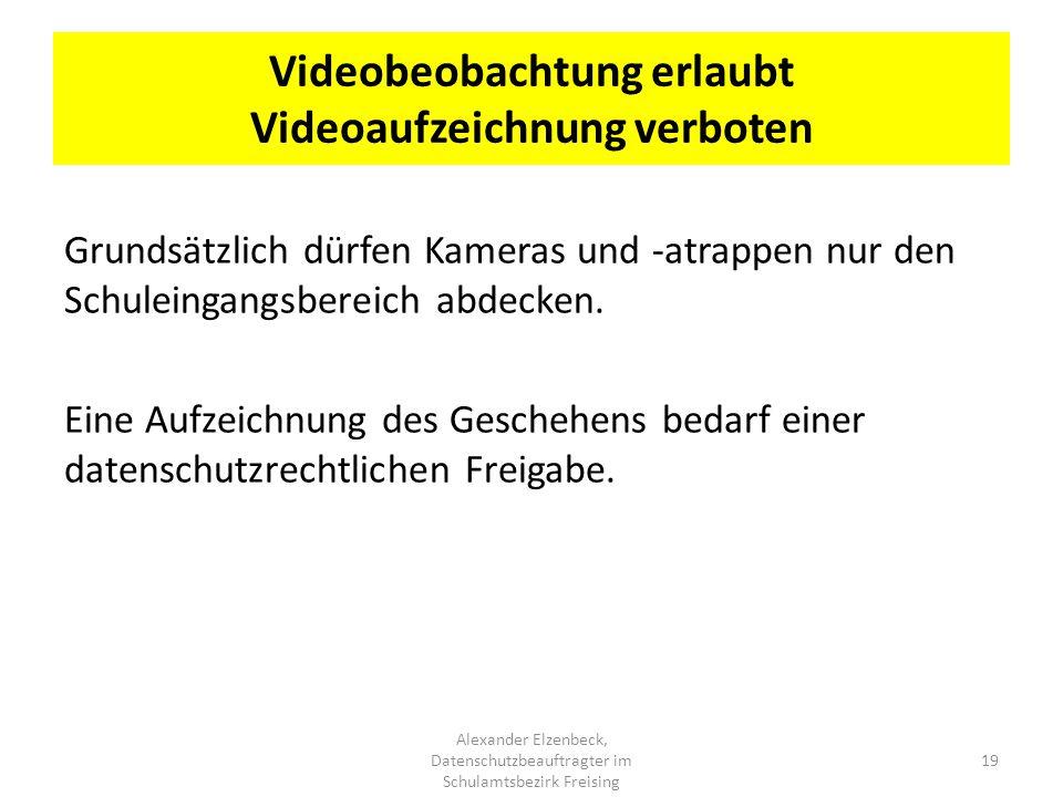 Videobeobachtung erlaubt Videoaufzeichnung verboten