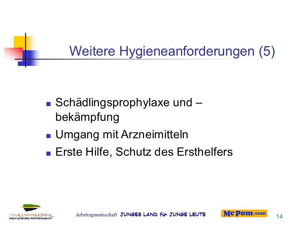 Weitere Hygieneanforderungen (5)