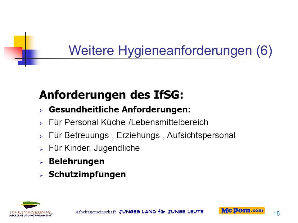 Weitere Hygieneanforderungen (6)