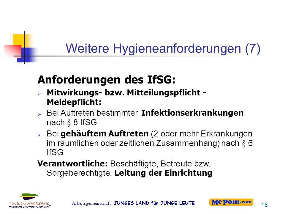 Weitere Hygieneanforderungen (7)