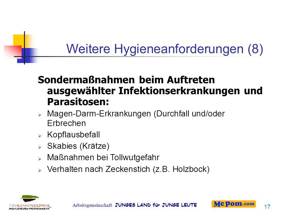 Weitere Hygieneanforderungen (8)