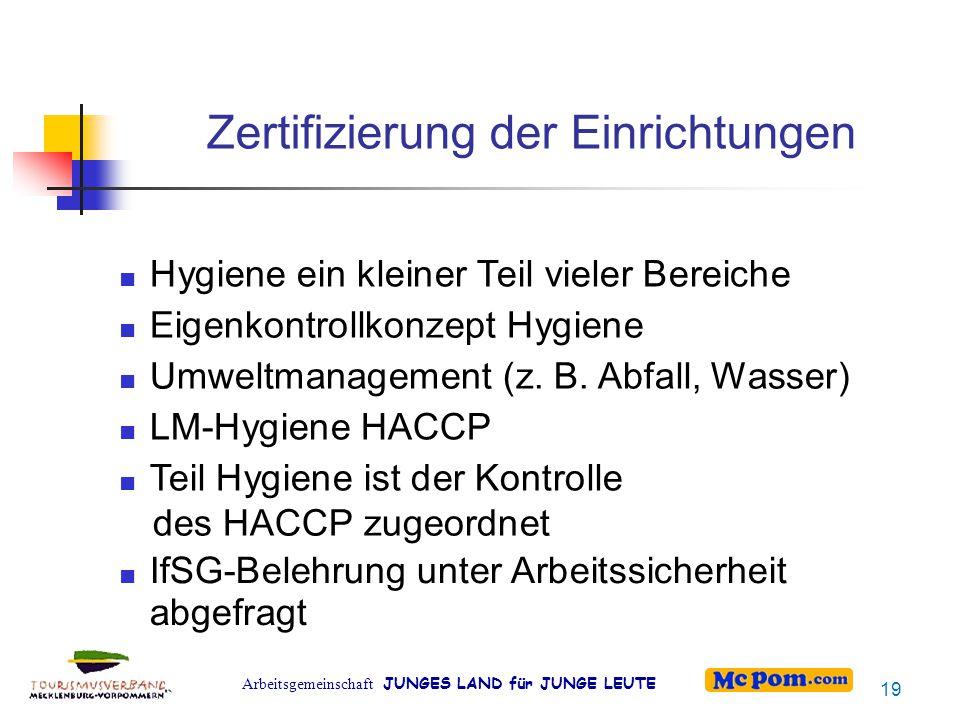 Zertifizierung der Einrichtungen