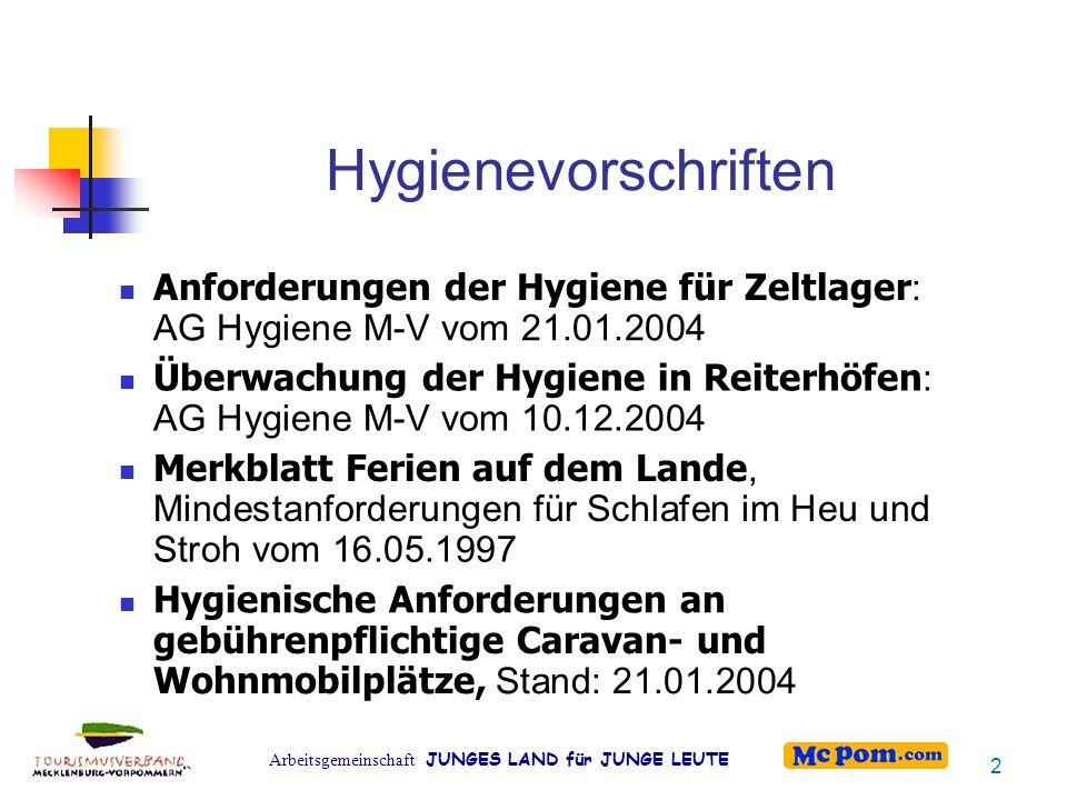 Hygienevorschriften Anforderungen der Hygiene für Zeltlager: