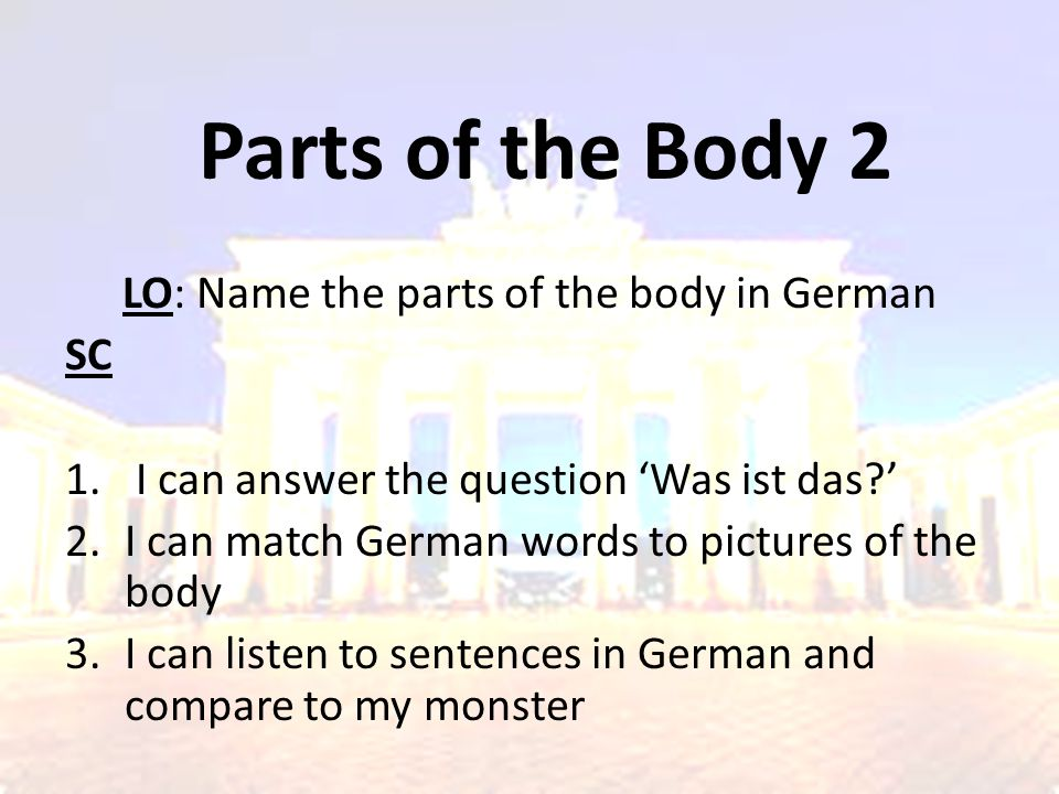 LO: Name the parts of the body in German
