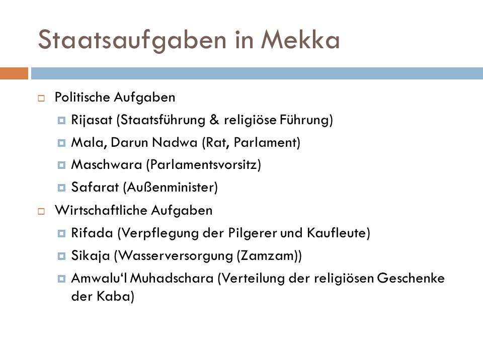 Staatsaufgaben in Mekka