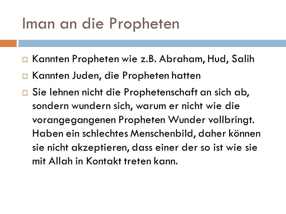 Iman an die Propheten Kannten Propheten wie z.B. Abraham, Hud, Salih