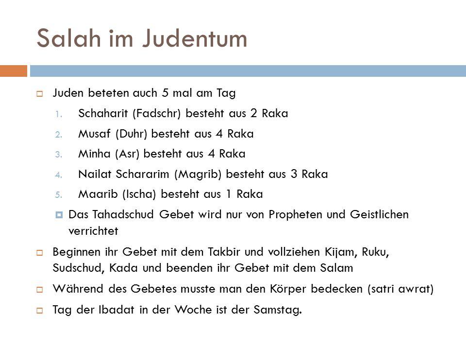 Salah im Judentum Juden beteten auch 5 mal am Tag