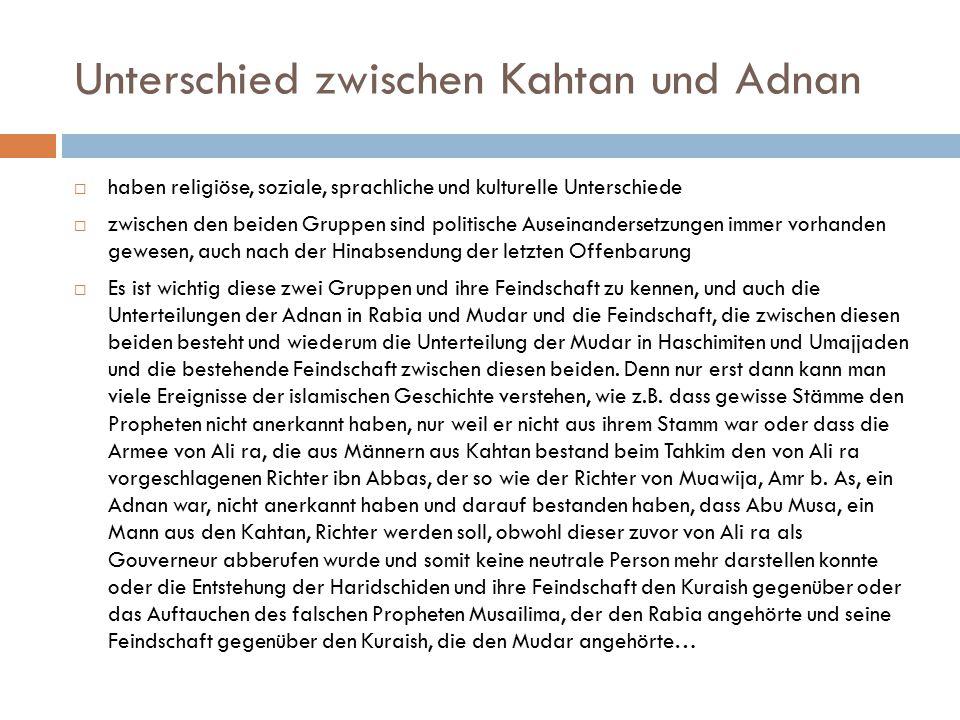 Unterschied zwischen Kahtan und Adnan