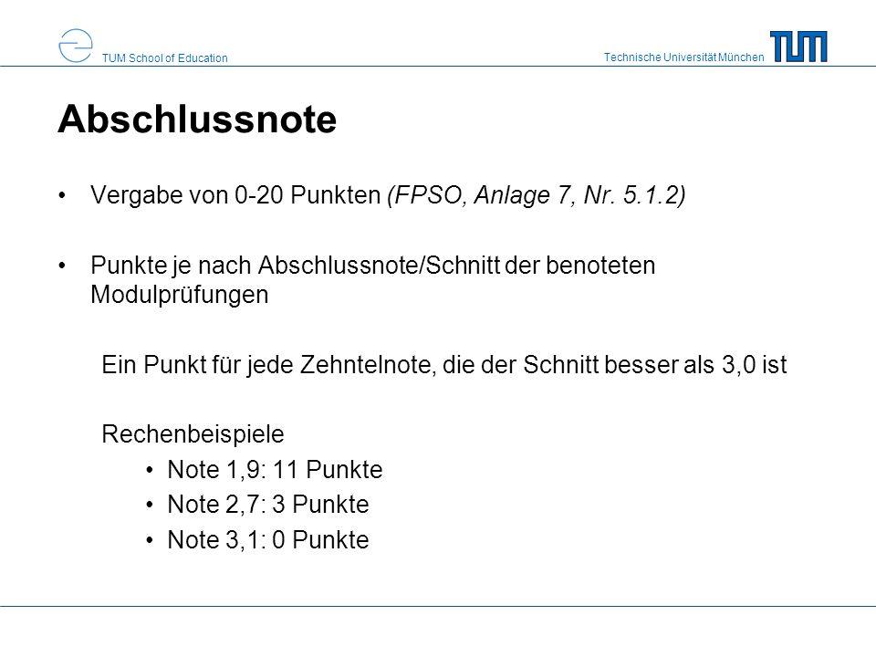 Abschlussnote Vergabe von 0-20 Punkten (FPSO, Anlage 7, Nr. 5.1.2)