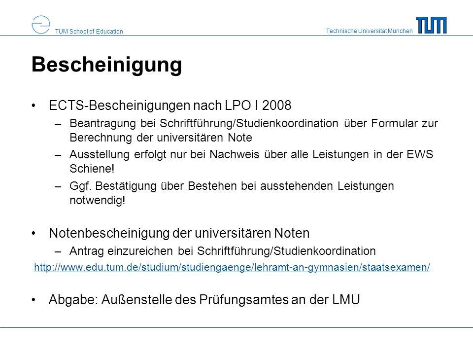Bescheinigung ECTS-Bescheinigungen nach LPO I 2008