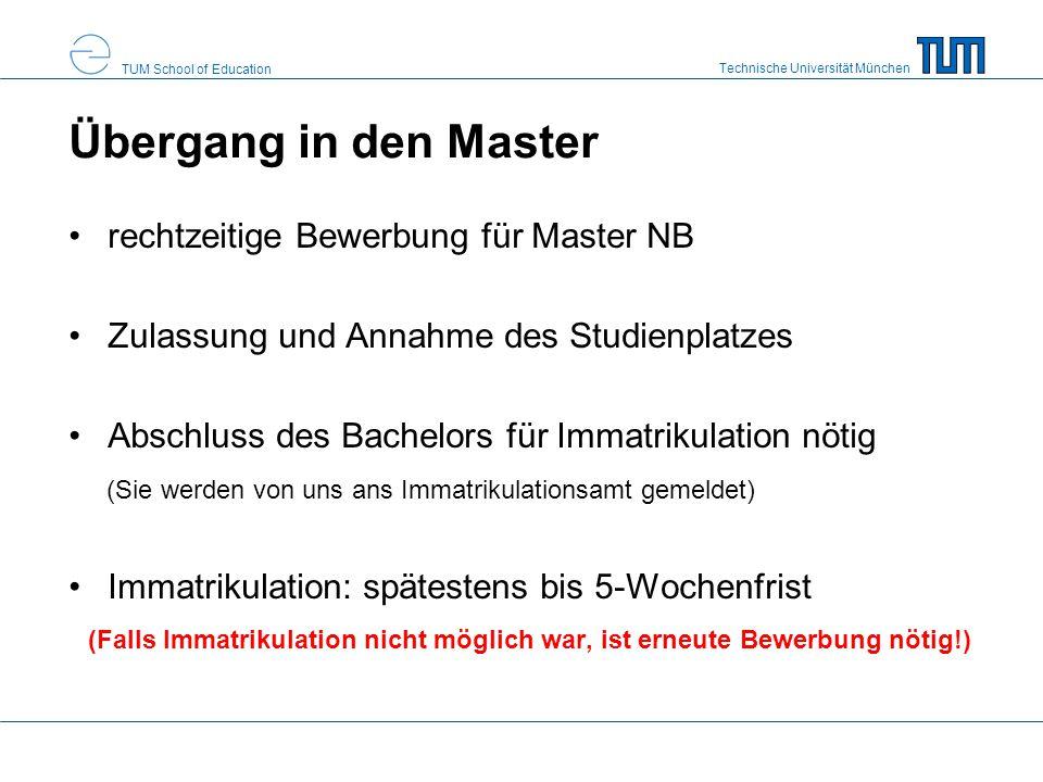 Übergang in den Master rechtzeitige Bewerbung für Master NB