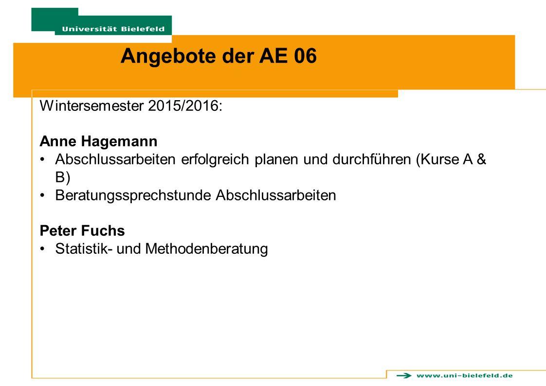 Angebote der AE 06 Wintersemester 2015/2016: Anne Hagemann