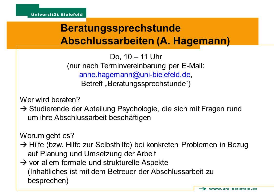 Beratungssprechstunde Abschlussarbeiten (A. Hagemann)