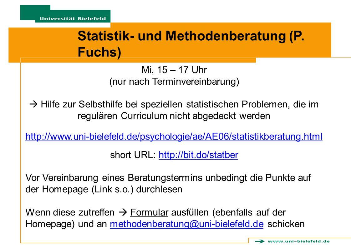Statistik- und Methodenberatung (P. Fuchs)