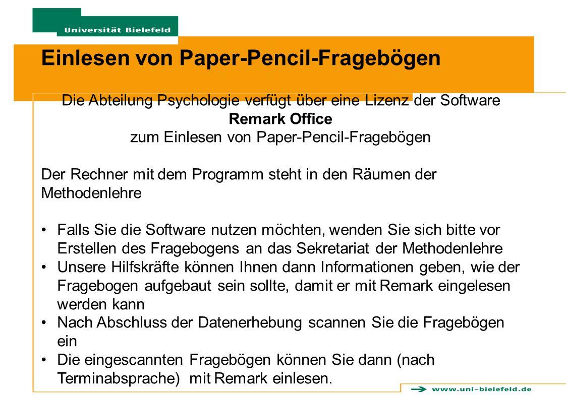 Einlesen von Paper-Pencil-Fragebögen