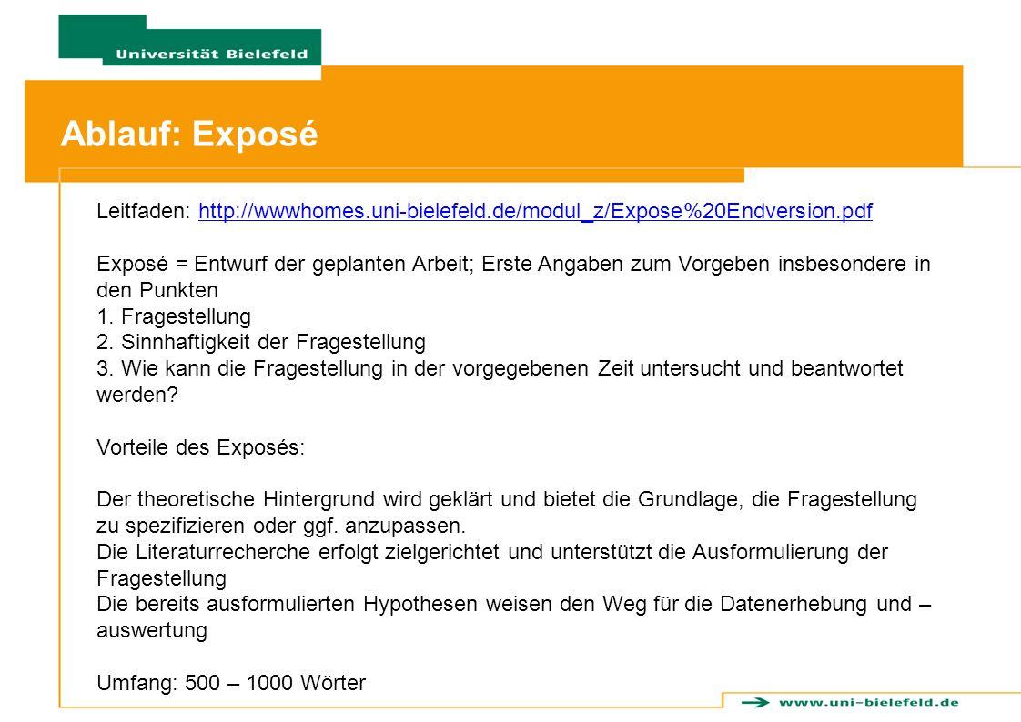 Ablauf: Exposé Leitfaden: http://wwwhomes.uni-bielefeld.de/modul_z/Expose%20Endversion.pdf.