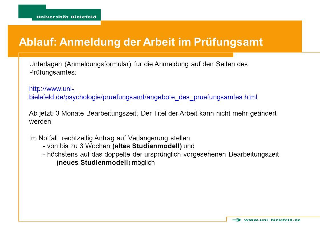 Ablauf: Anmeldung der Arbeit im Prüfungsamt
