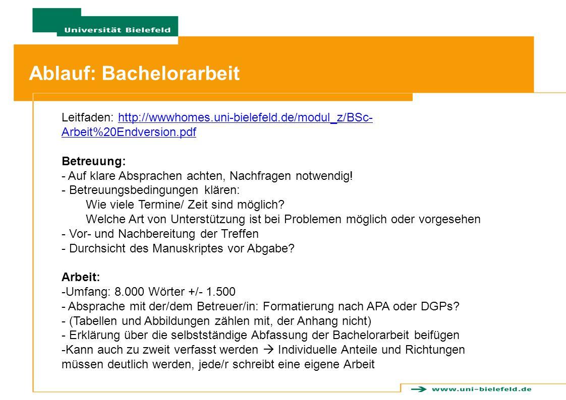 Ablauf: Bachelorarbeit