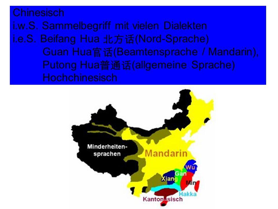 Chinesisch i. w. S. Sammelbegriff mit vielen Dialekten i. e. S