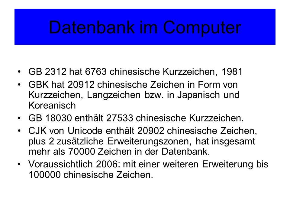 Datenbank im Computer GB 2312 hat 6763 chinesische Kurzzeichen, 1981