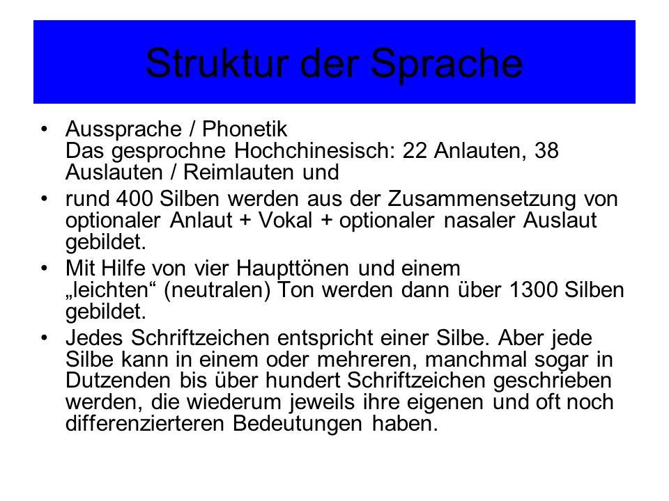 Struktur der Sprache Aussprache / Phonetik Das gesprochne Hochchinesisch: 22 Anlauten, 38 Auslauten / Reimlauten und.