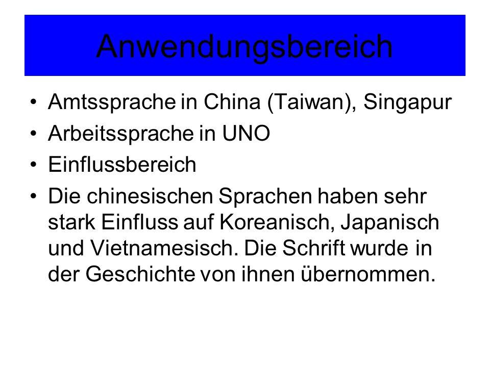 Anwendungsbereich Amtssprache in China (Taiwan), Singapur