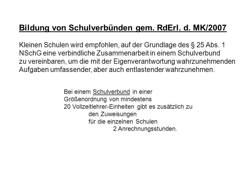 Bildung von Schulverbünden gem. RdErl. d. MK/2007
