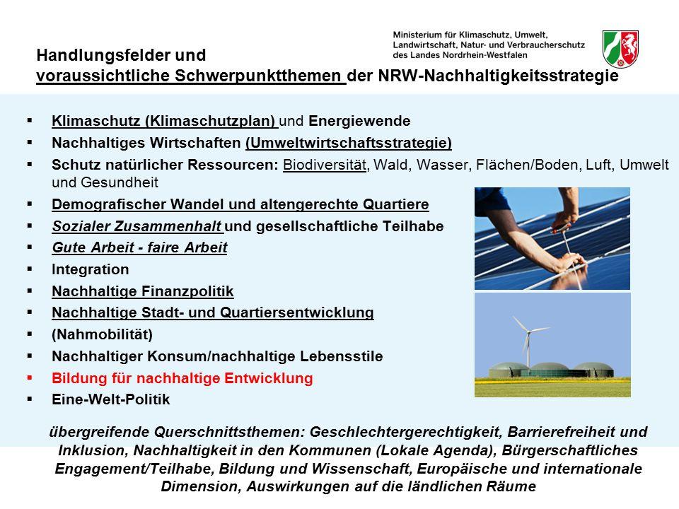 Handlungsfelder und voraussichtliche Schwerpunktthemen der NRW-Nachhaltigkeitsstrategie