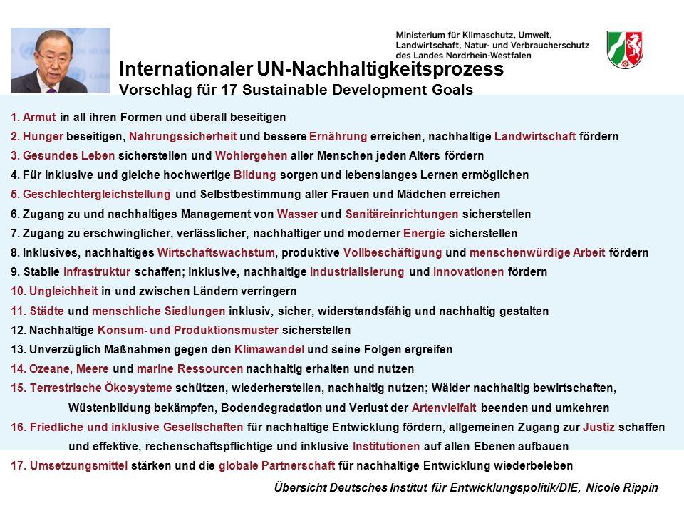Internationaler UN-Nachhaltigkeitsprozess Vorschlag für 17 Sustainable Development Goals