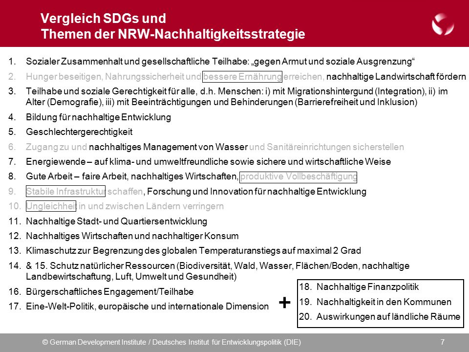 Vergleich SDGs und Themen der NRW-Nachhaltigkeitsstrategie