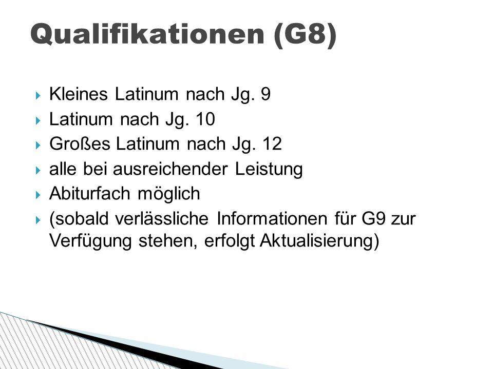 Qualifikationen (G8) Kleines Latinum nach Jg. 9 Latinum nach Jg. 10