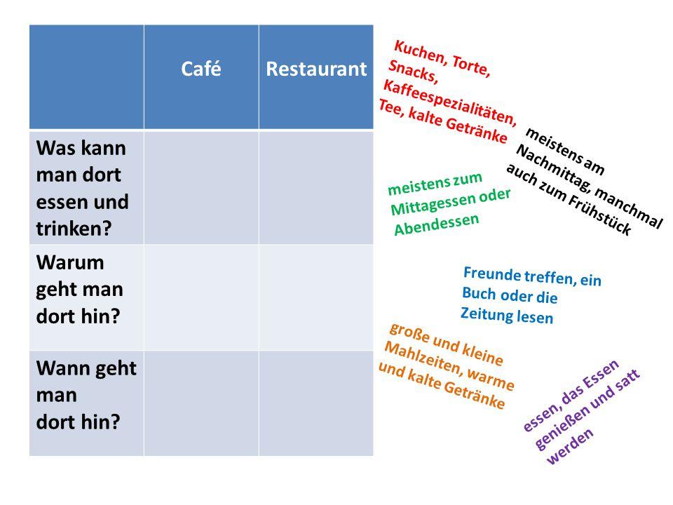 Café Restaurant Was kann man dort essen und trinken Warum geht man