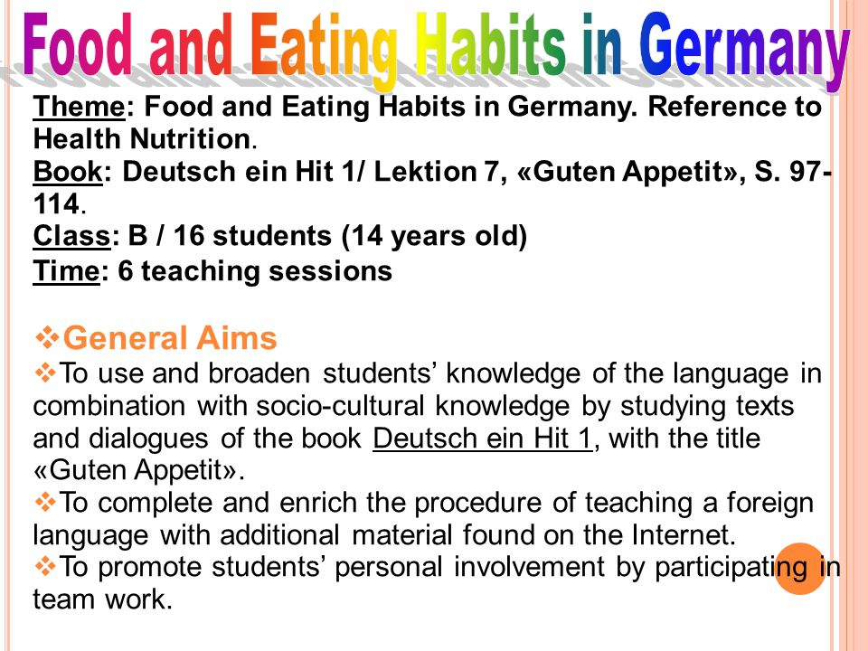 Food and Eating Habits in Germany