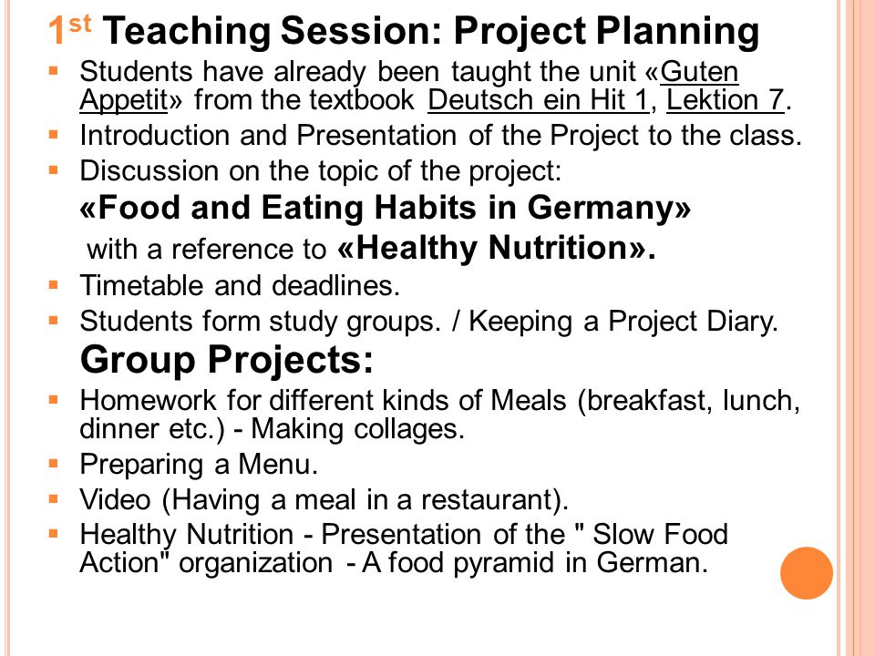 1st Teaching Session: Project Planning