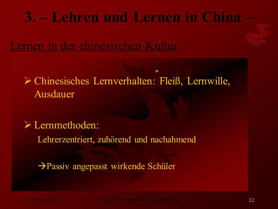 3. – Lehren und Lernen in China –