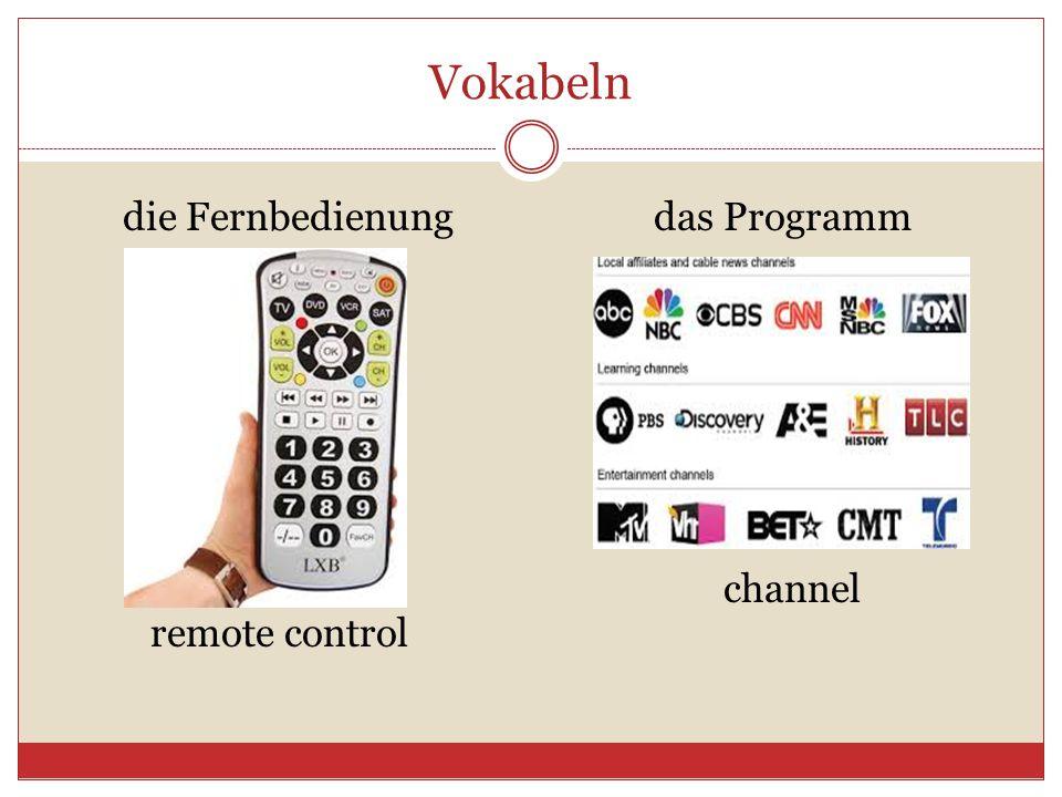 Vokabeln die Fernbedienung das Programm channel remote control