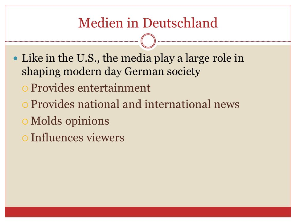Medien in Deutschland Provides entertainment