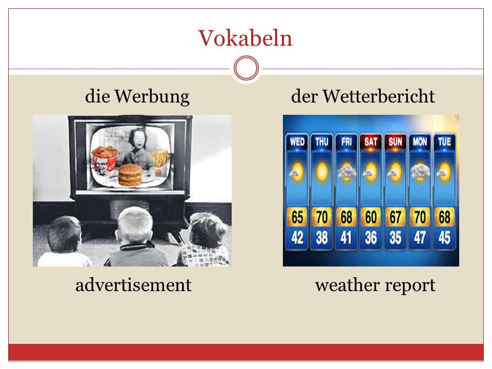 Vokabeln die Werbung der Wetterbericht advertisement weather report