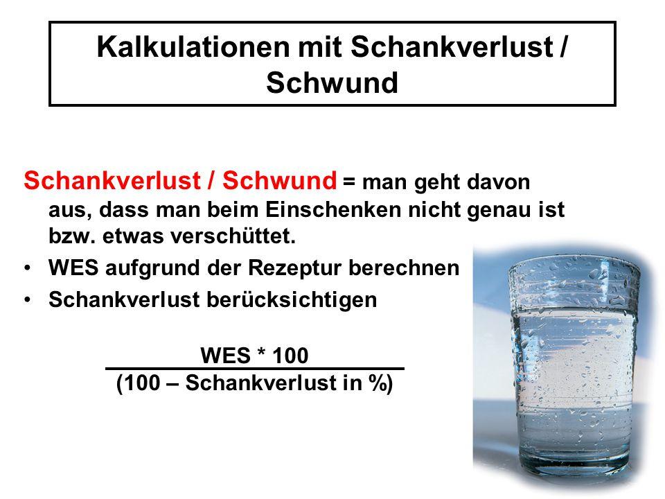 Kalkulationen mit Schankverlust / Schwund
