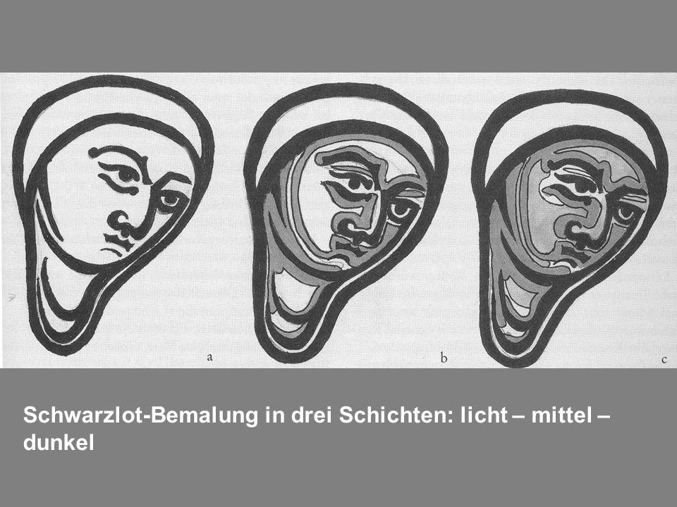 Schwarzlot-Bemalung in drei Schichten: licht – mittel – dunkel
