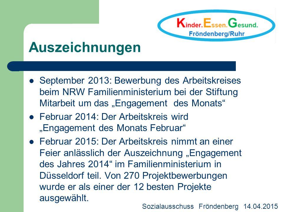 """Auszeichnungen September 2013: Bewerbung des Arbeitskreises beim NRW Familienministerium bei der Stiftung Mitarbeit um das """"Engagement des Monats"""