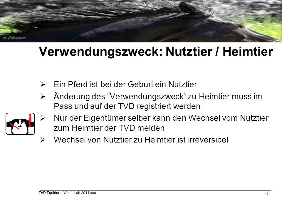 Verwendungszweck: Nutztier / Heimtier