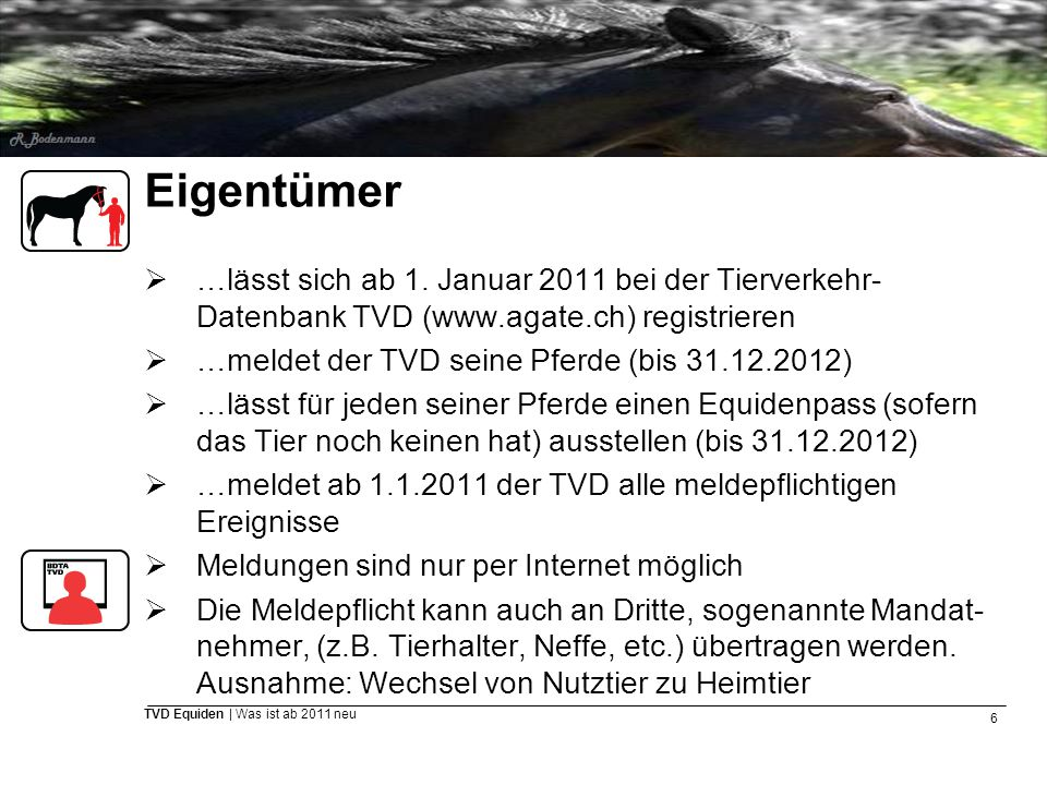 Eigentümer …lässt sich ab 1. Januar 2011 bei der Tierverkehr-Datenbank TVD (www.agate.ch) registrieren.