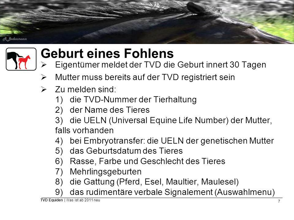 Geburt eines Fohlens Eigentümer meldet der TVD die Geburt innert 30 Tagen. Mutter muss bereits auf der TVD registriert sein.