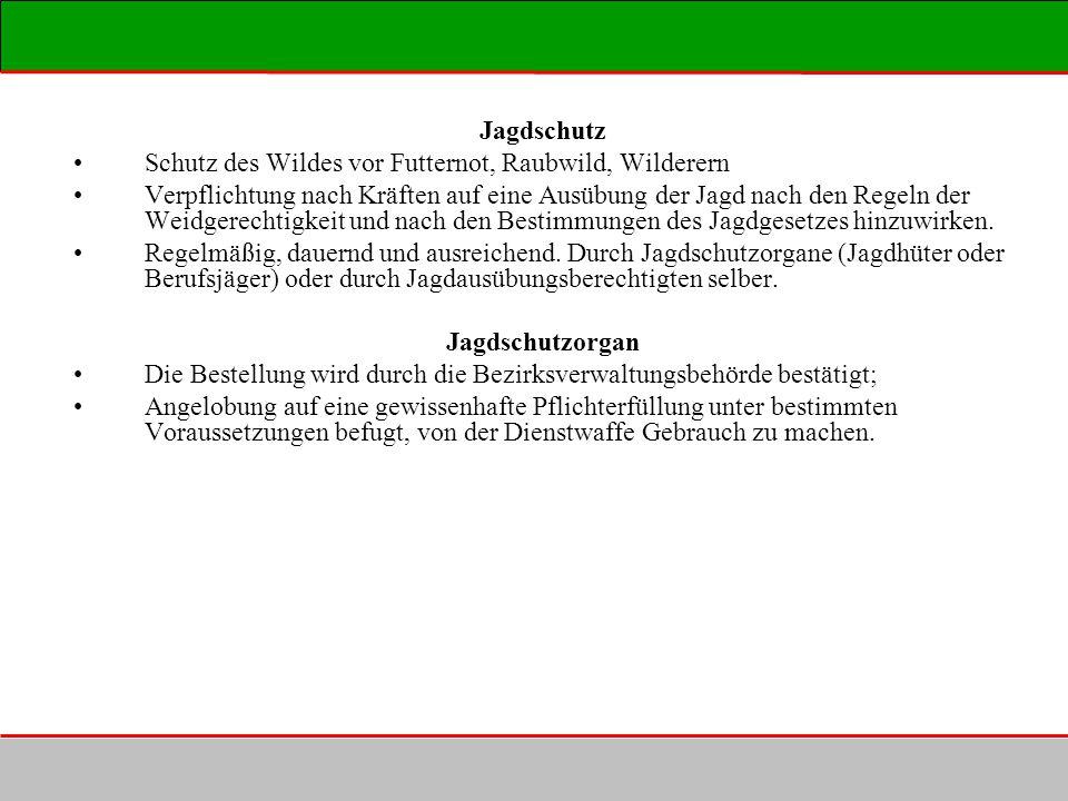 Jagdschutz Schutz des Wildes vor Futternot, Raubwild, Wilderern.