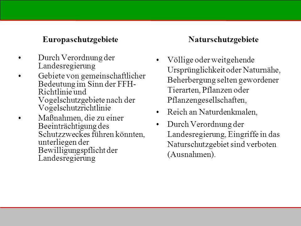 Europaschutzgebiete Naturschutzgebiete