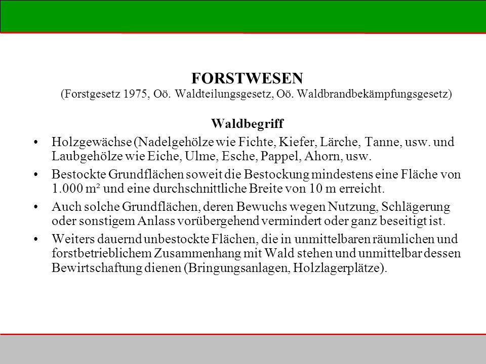 FORSTWESEN (Forstgesetz 1975, Oö. Waldteilungsgesetz, Oö