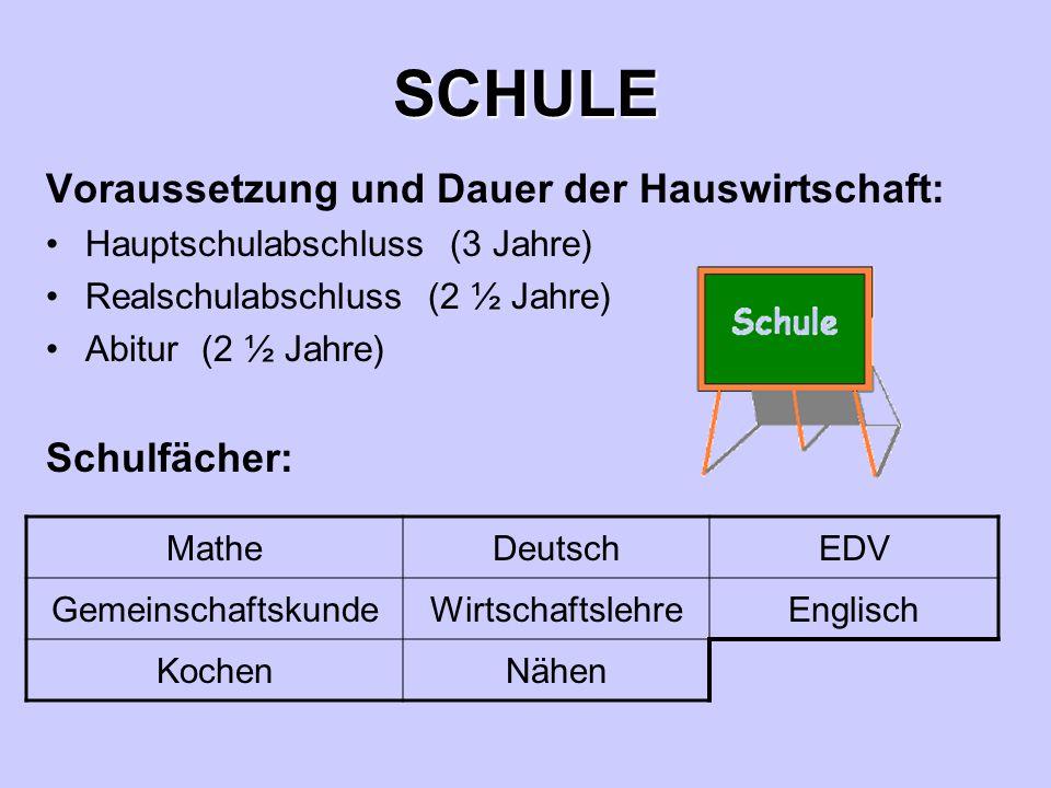 SCHULE Voraussetzung und Dauer der Hauswirtschaft: Schulfächer: