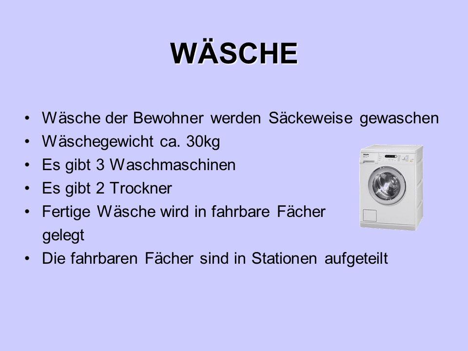 WÄSCHE Wäsche der Bewohner werden Säckeweise gewaschen